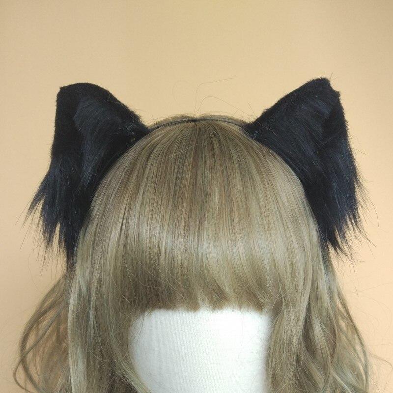 Лолита косплэй аксессуары к костюмам Симпатичная кошка neko уши лиса обруч для волос черный, белый цвет головные уборы ручной работы