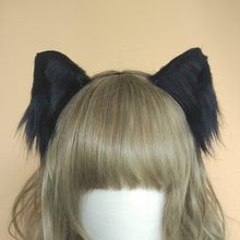Lolita cosplay accesorios de disfraz Lovely Kitty Cat neko orejas zorro pelo Aro negro blanco tocado hecho a mano(China)