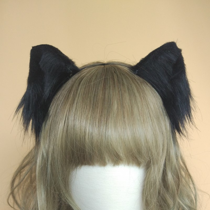 Lolita cosplay costume accessories Lovely Kitty Cat neko Ears fox Hair Hoop black white headwear made in hand