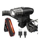 USB rechargeable bike Super bright front light and tail LED Bike Light Set