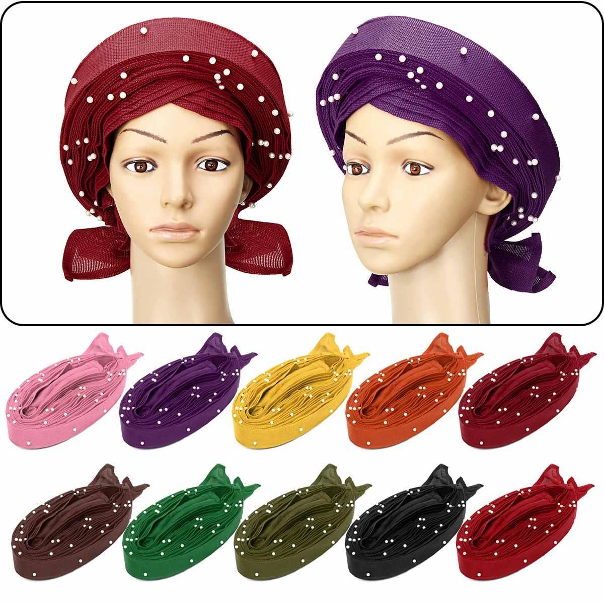 10 couleurs gele Africaine déjà heatie Aso oke headtie avec perles africain tête wrap pour Femmes accessoires pour cheveux Chapeaux de Tissu