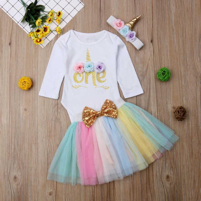 d197303f7ce ... UK 3PCS Baby Girl 1st Birthday Outfit Party Unicorn Romper Cake Smash  Tutu Dress New Baby