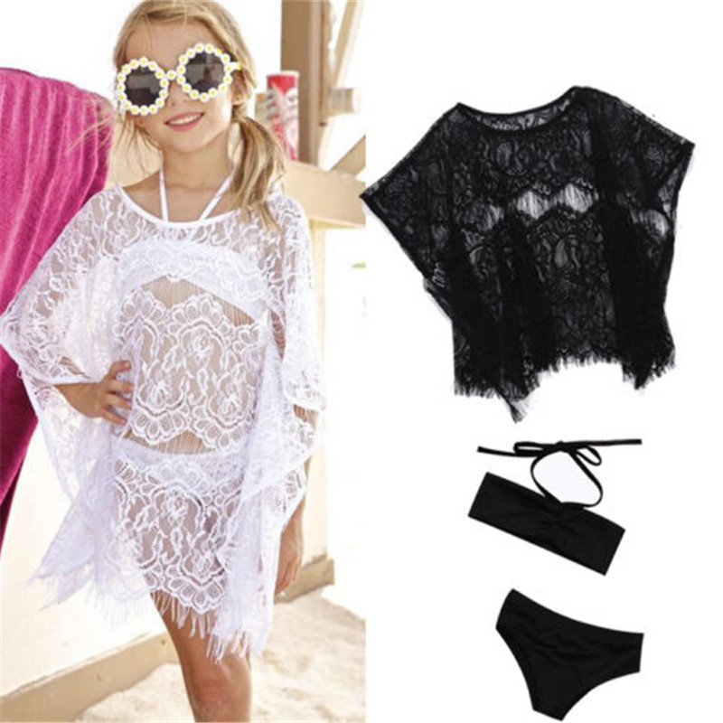 2019  Summer Girls Bikini Set Solid Bandage Two-Piece Beach Wear Outfits+ Hollow Out Lace Cover Up Dress