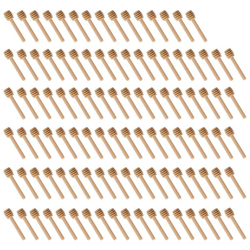 EAS-100 Pack Of Mini 3 Inch Wood Honey Dipper Sticks, Individually Wrapped, Server For Honey Jar Dispense Drizzle Honey, Weddi