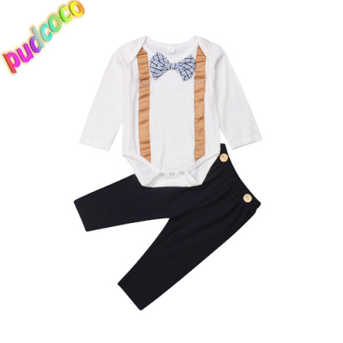 2018 Newborn Baby Boy Gentleman Bowknot Romper  Jumpsuit Outfits Clothes 0-1Y Hot
