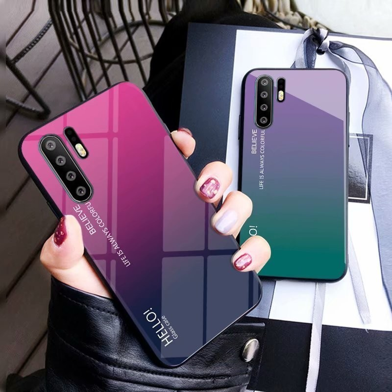 CHYI Phone Case For Huawei P20 Lite P30 Pro Luxury Mobile Accessories Glass Hard Shell Gradient Cover Coque For Honor Mate 20Pro