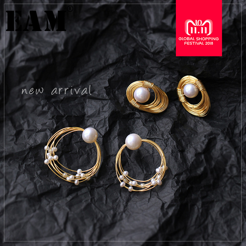 WKOUD EAM Jewelry / 2018 New Fashion Temperament Wrapped Shaped Pearl Irregular Earrings Women's Accessories S#R1243 sitemap 402 xml