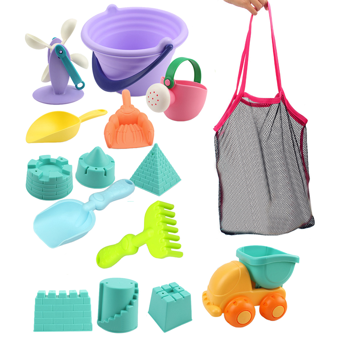 Hot 15Pcs/set Beach Sand Toys Soft Rubber Beach Bucket Playset Fun Toys Gift For Kids Summer Outdoor Fun Drop Ship -Random Color