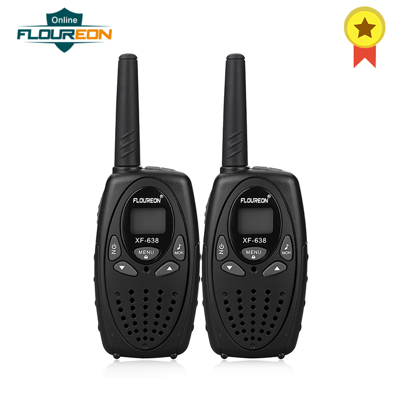 2pcs FLOUREON 8 Channel Handed Walkie Talkies UHF400-470MHz Two-Way Radio 3KM Interphone LCD Backlit Display Black EU/UK