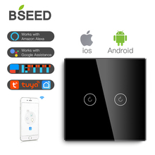 BSEED EU Touch Switch Wifi 2 Gang 1Way Smart Glass LED White Black Golden (Neutral Wire Needed)