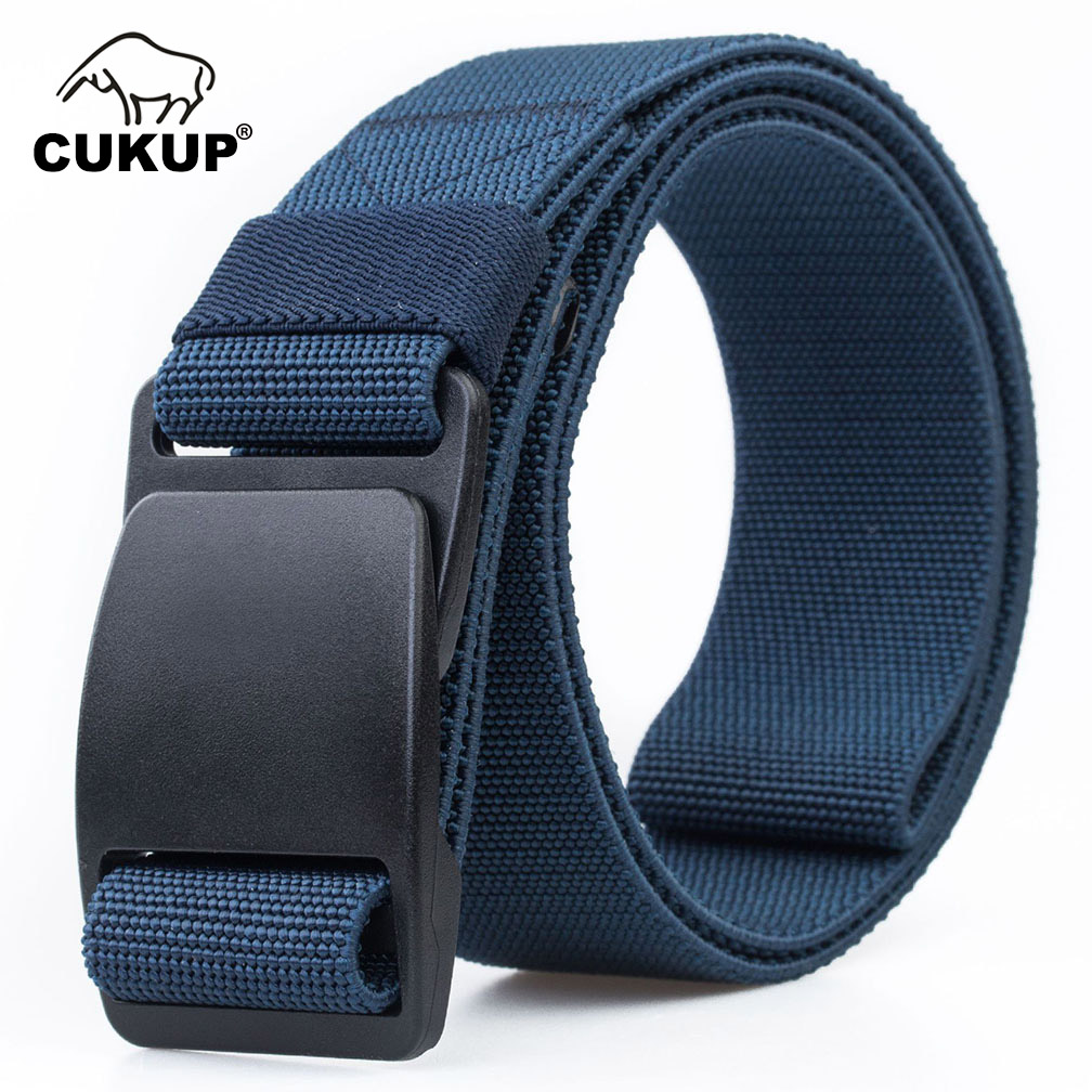 Image 3 - CUKUP Mens Brand Unisex Design Quality Hard Plastic Buckle Belt Man Quality Canvas Elastic Waistband Casual Belts Men CBCK120Mens Belts   -