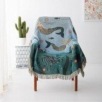Cute Cartoon Mermaid Underwater World Sofa Throw Blanket Knitted Chair Sofa Cover Towel Knitted Throw Blanket Bedspread Cover