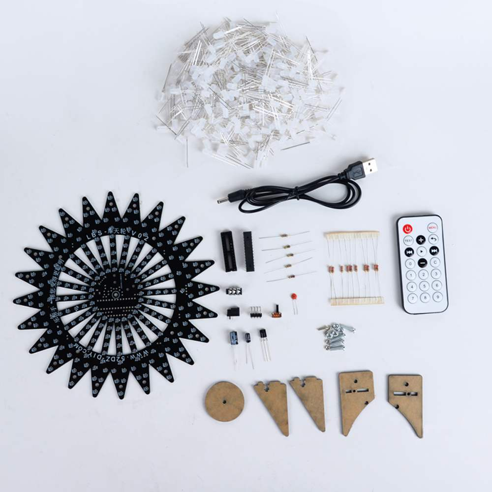 DIY Bluetooth Ferris Wheel Model LED Light Kit Remote Control Music Spectrum Electronic Kit