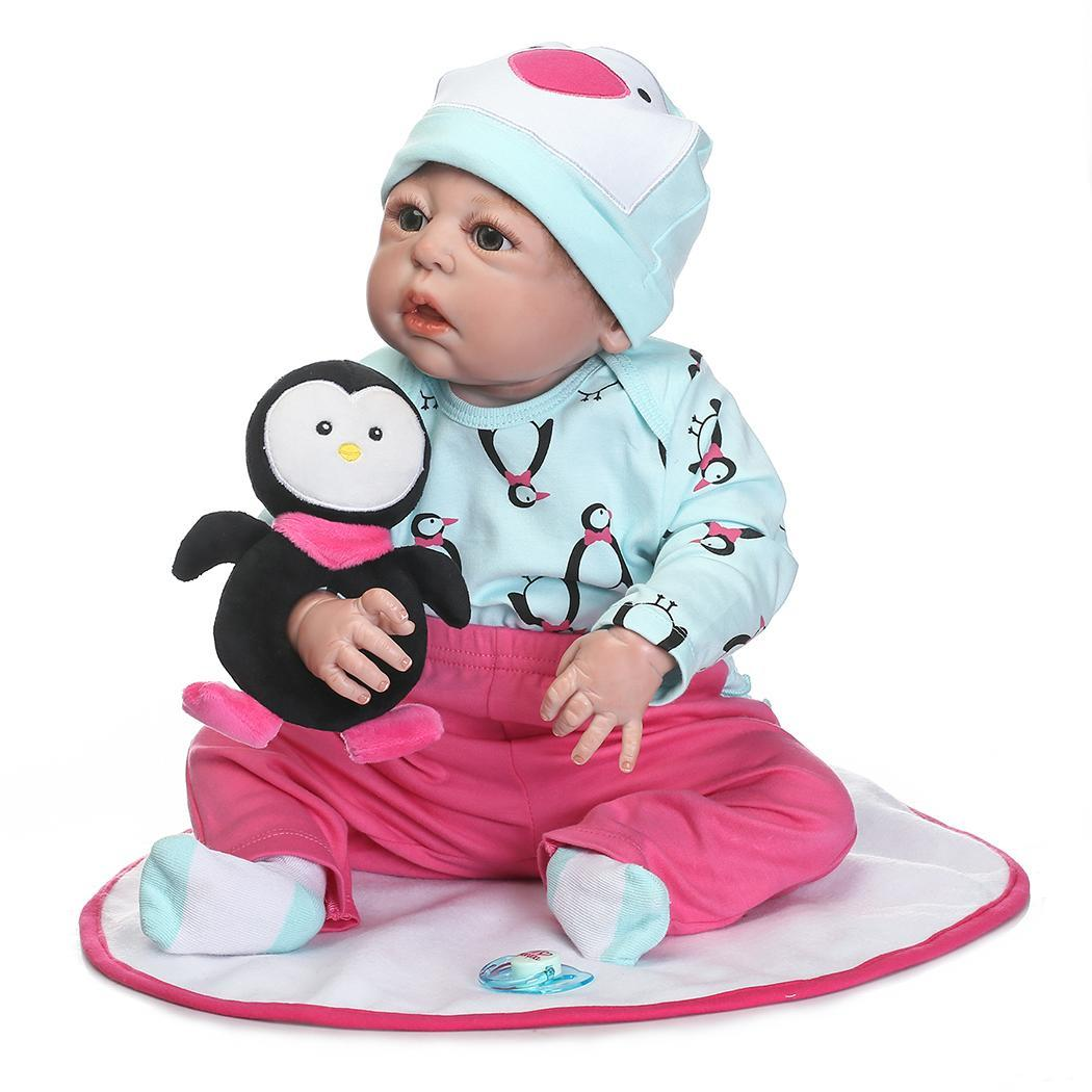 Kids Soft Silicone Realistic With Clothes Collectibles, Gift, Playmate Plush Penguin Reborn Baby Doll UnisexKids Soft Silicone Realistic With Clothes Collectibles, Gift, Playmate Plush Penguin Reborn Baby Doll Unisex