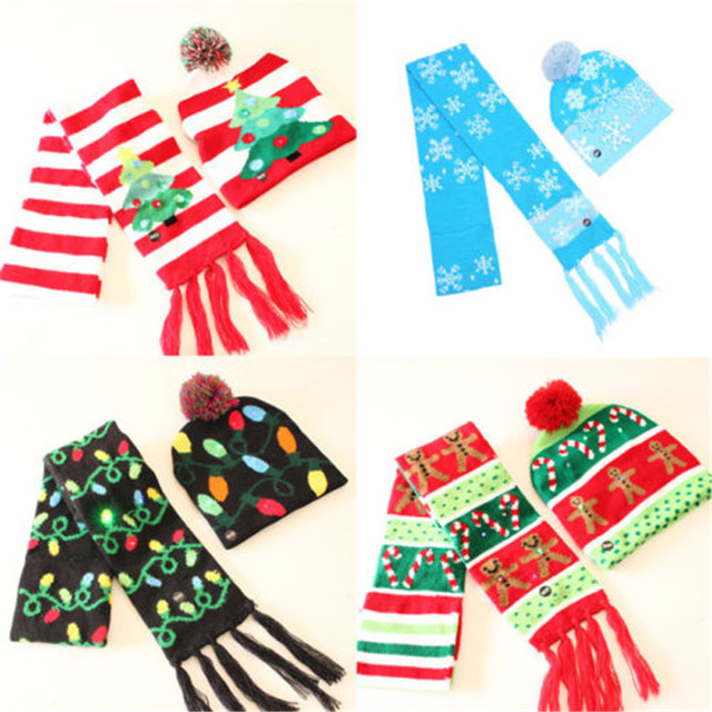44a083800cc5d Newborn Kids Baby Christmas Hat Scarf Set Winter Warm Christmas Tree  Personalized Shinning Cap Bebe Scarfs
