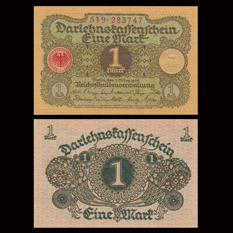Germany 1 Mark, 1920, P-58, A-UNC, Banknotes, Collection, Gift, Europe, Genuine Original Paper Notes