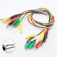 Pinzas de cocodrilo de doble punta, pinzas de cable de prueba de 5 colores, pinzas de cocodrilo eléctricas, 5/10 Uds.