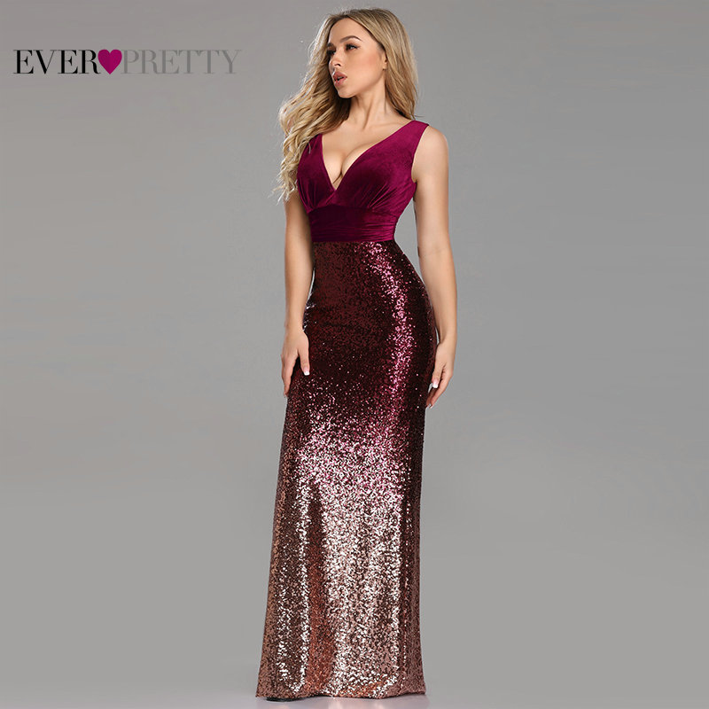 New Arrival Mermaid   Prom     Dresses   2019 Ever Pretty Sexy V Neck Backless Sequined Formal Party Gowns Velvet Top Robe De Soiree