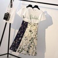 Long Skirt Set Two Piece Beading Short Sleeve Shirt Elegant Long Pleated Skirt Plus Size Fashion 2piece Set Women Outfits