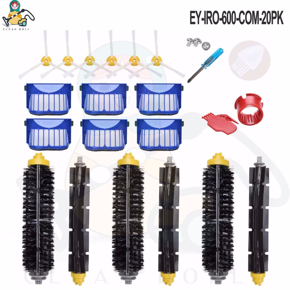20-Pack main roller brush side brushes AeroVac Filter for iRobot Roomba 645 655 677  for  iRobot Roomba accessories spare parts20-Pack main roller brush side brushes AeroVac Filter for iRobot Roomba 645 655 677  for  iRobot Roomba accessories spare parts