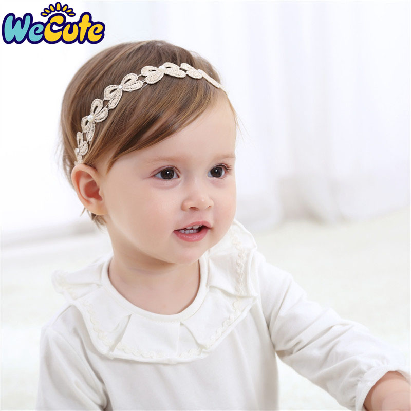 Wecute Gold Lace Baby Headband Girls Turban   Headwear   Pearl Tiara Infant Toddler Hair Accessories White Solid Lovely Bow Band