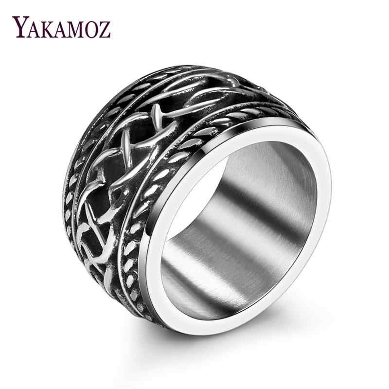 YAKAMOZ Vintage 316L Stainless Steel Irish Celtic Knots Men's Ring Fashion Bague Women Male Jewelry Anillos Accessories