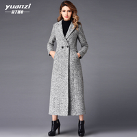 New Arrival Winter Wool Coat Womens 2019 Gray Long Coat Women V neck Double breasted Slim Big Pendulum Plus Size Female Overcoat