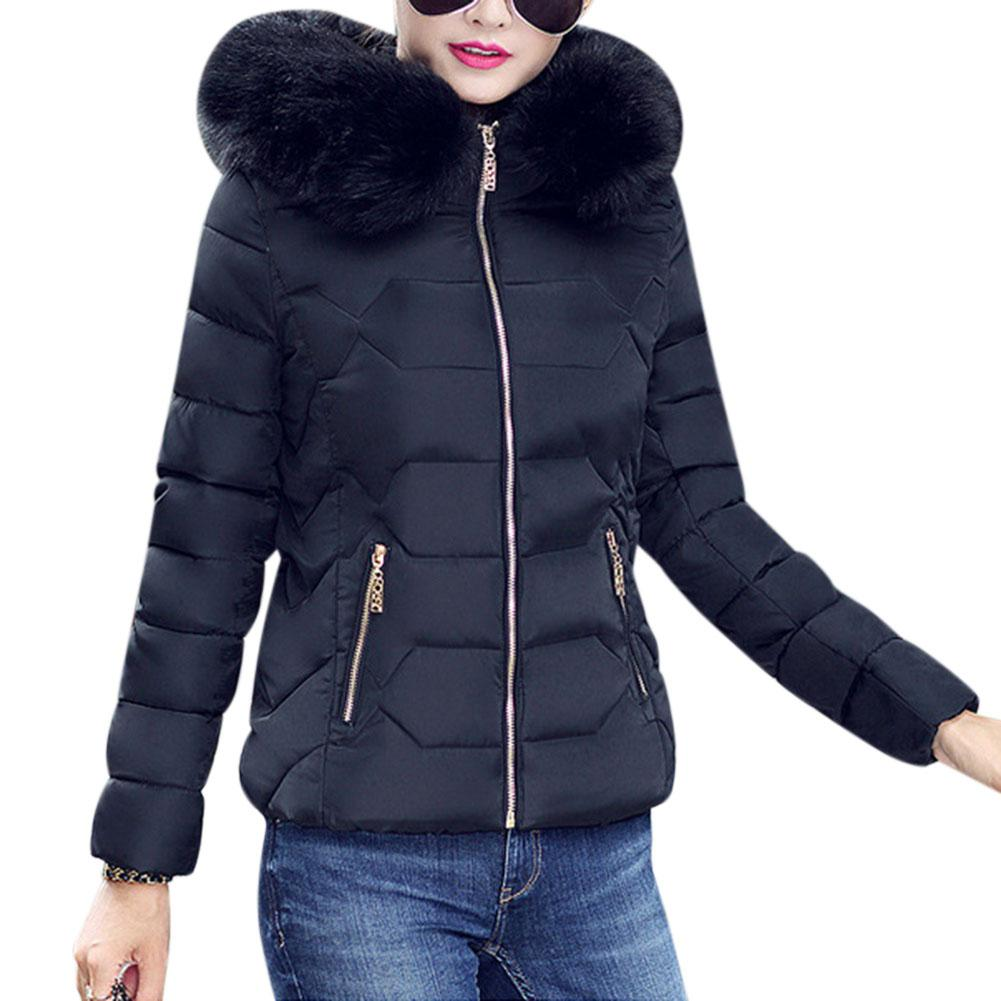 Women Female Winter Coat Ladies Jacket Fur Collar Warm Hooded Cotton Padded Solid Outwear Women Fashion Thicken   Parka   Coats Top