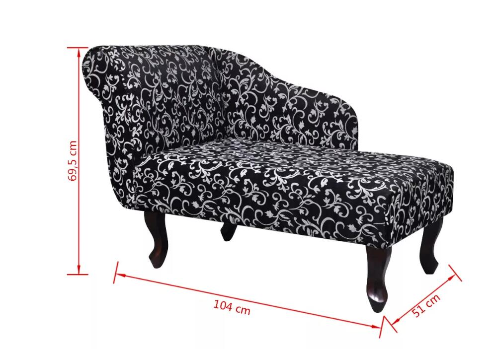 Vidaxl Elegant Chaise Longue Avec Motif Floral Tissu Noir Et Blanc Living Room Furniture Sofa Chaise Lounge Black And White