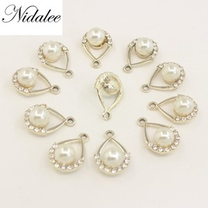 Nidalee Waterdrop Pendant Flatback Rhinestone Button Plating Embellishments Diy Happy Birthday Decoration Buttons Applique 10pcs
