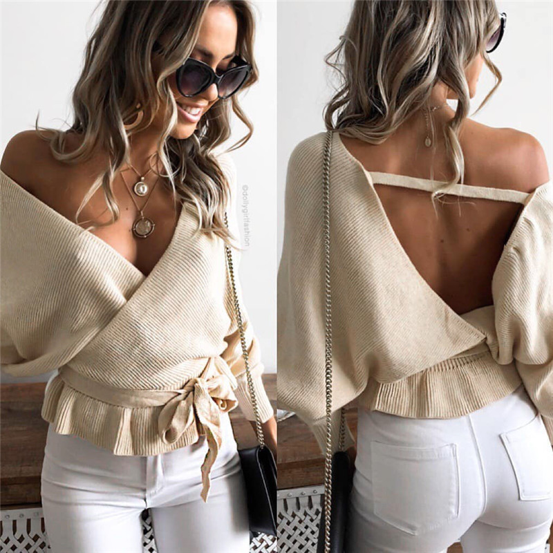 Women Backless Long Sleeve tshirt Solid Sweater Deep V Neck Ladies Sweater Casual   T     shirt   Tops