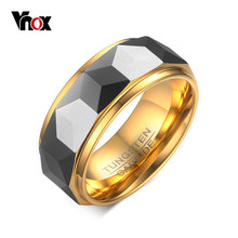VNOX 100% Tungsten Men Ring Wedding Male Jewelry Gold Color 8mm Width Dropshipping(China)