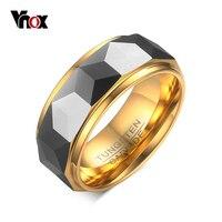 Vnox Для мужчин полированная грань Cut Призма блестящие Вольфрам карбида обручальное кольцо 8 мм Размеры 6 7 8 9 10 11 12