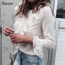 цены на Women Ladies Blouses And Tops Casual Ruffles Lace Polka Dot O Neck Shirt Long Sleeve Blouse blusas mujer de moda 2019 в интернет-магазинах
