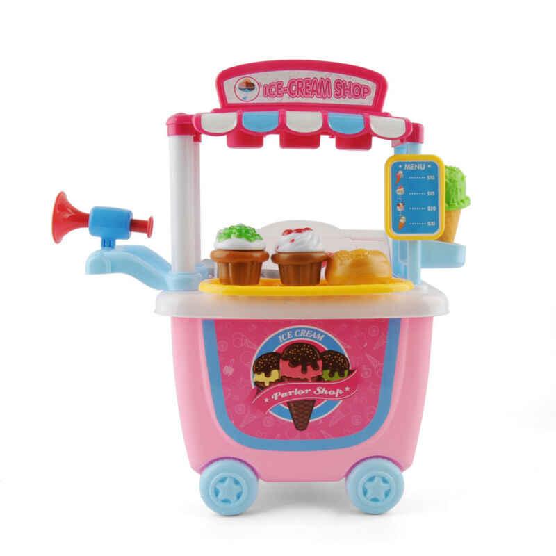 Carrinho de Sorvete Conjunto de Jogo do Presente das crianças Crianças Pretend play Toy Brinquedos Hobby Educação Engraçado Alimentos Mantimentos KID Presente Gota grátis
