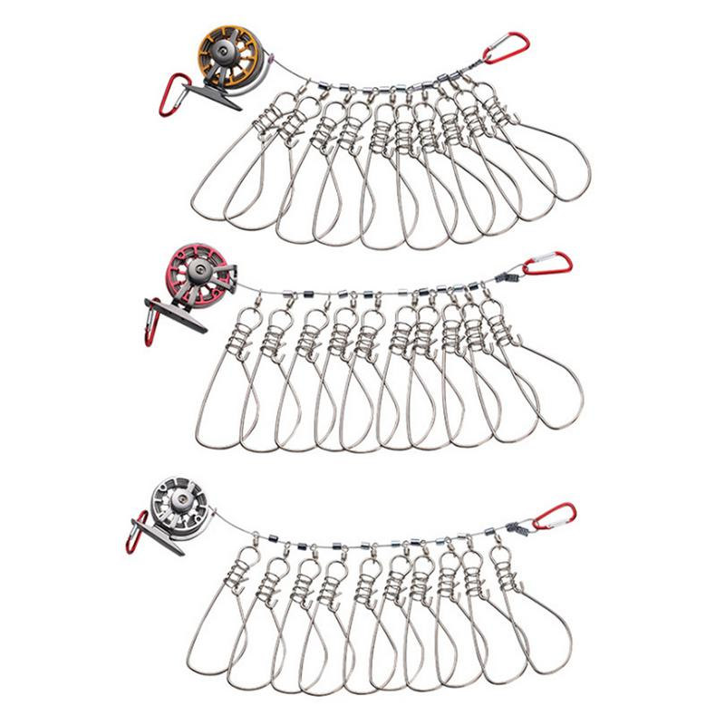 Fishing Live Fish Lock Buckle With Reel And Float Stainless Steel 10 Snaps Fishing Stringer Clips Tackle Carp Pesca