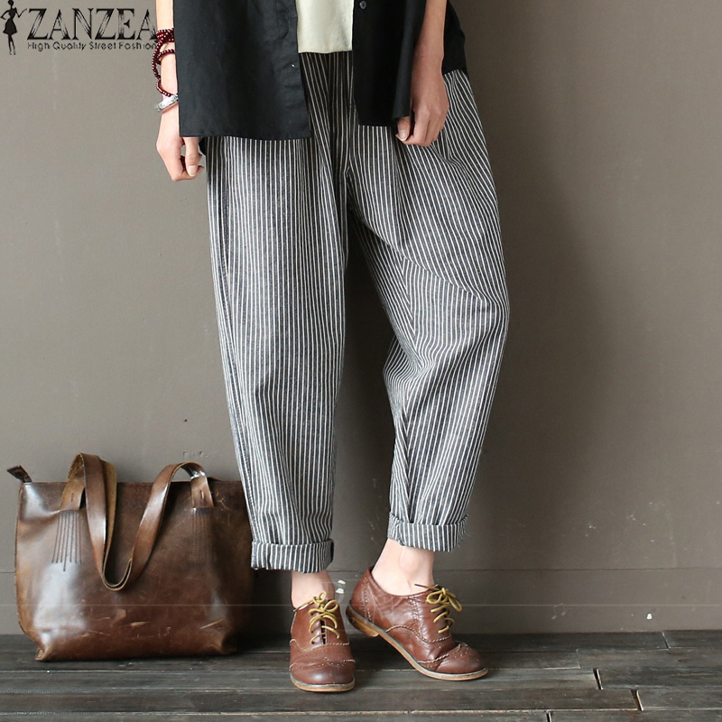 Plus Size ZANZEA 2019 Women Harem Pants Elastic High Waist Cotton Linen Trousers Casual Work Office Pantalon Femme Sweatpants