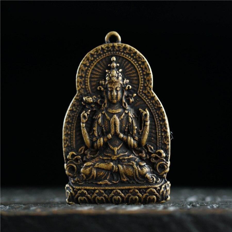65MM Old Chinese Miao Silver 1000 Arms Avalokiteshvara of Goddess Pendant Amulet
