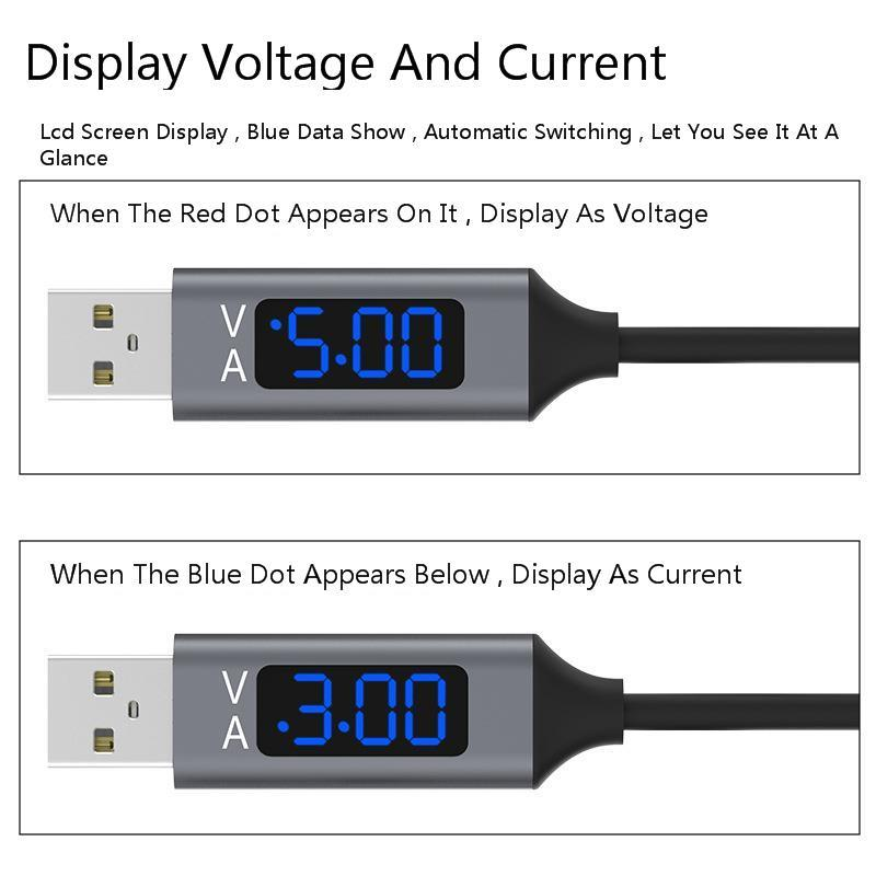 Vogek 3A USB Phone Cable with LED Digital Display Type C Micro USB Data Cable Fast