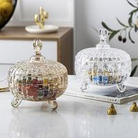 European Crystal Glass Candy Organizer Living Room Candy Cans Dried Fruit Plate Bucket with Cover Fruit Racks Kitchen Storage