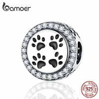 BAMOER Pure 925 Sterling Silver Cat Paw Footprints Round Beads for Women Brand Charm Bracelet Animal Pet Fine Jewelry SCC1186