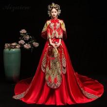 цена Fashion New Tailing Long Satin Dress Cheongsam Gown Chinoise Married Qi Pao Women Chinese Wedding Dresses Orientale Bride Qipao в интернет-магазинах