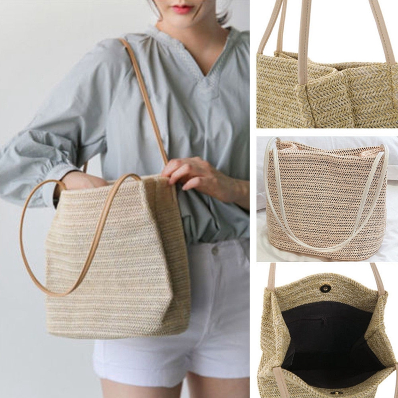 Women Straw Woven Handbag Beach Summer Basket Crossbody Shoulder Bag Tote