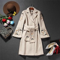 New 2018 Autumn Winter Women Long Wool Coat Adjustable Waist Fashion Embroidery Sashes Woolen Outerwear Solid Overcoat