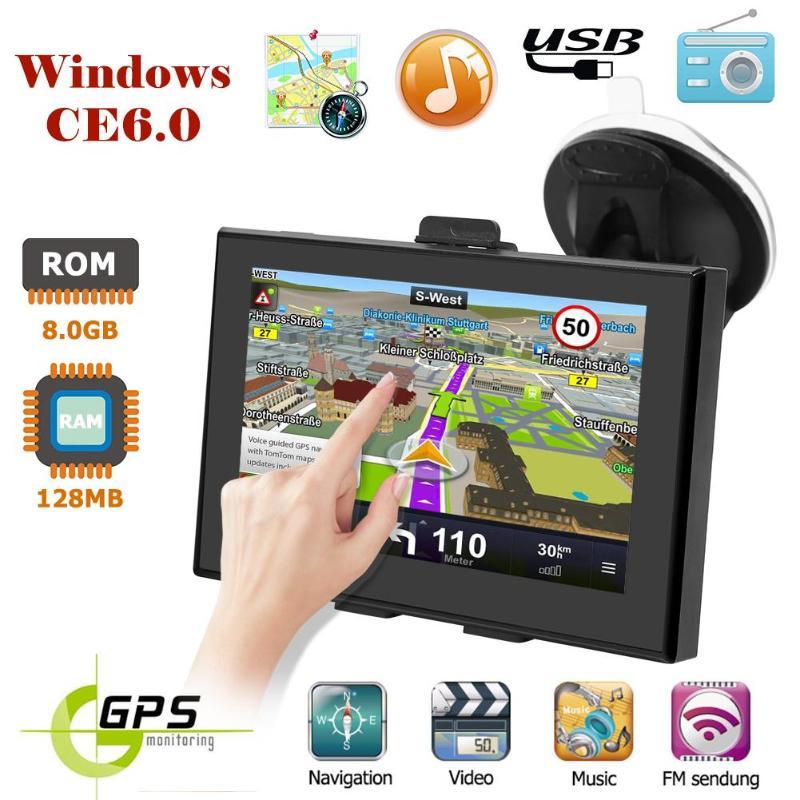 5 inch Car GPS Navigation WinCE6 0 FM Bluetooth RAM 128MB ROM 8G AV In Reversing