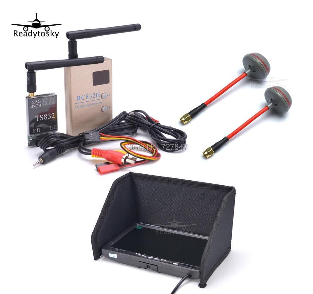Комплект Азм комбо Системы 5,8 Ghz 600 mw 48CH TS832 RC832H RC832 + 7 дюймов ЖК-дисплей 1024x600 монитор + антенна Fatshark для Quadcopter