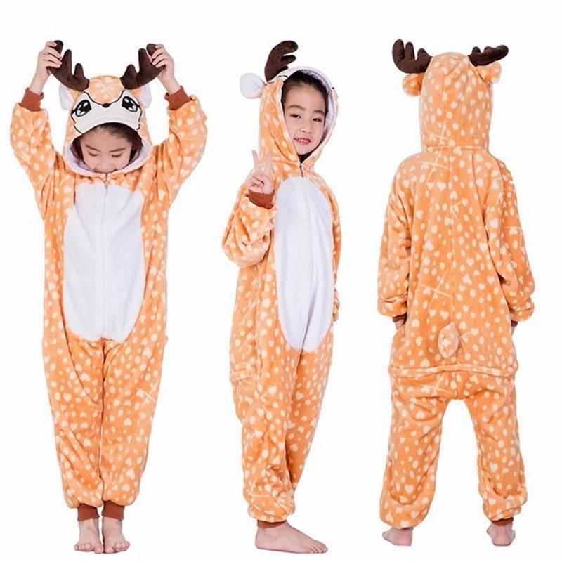 New  Kids Animal Flannel Onesie Hooded Pajamas Deer Fox Tiger Lion Unisex Children Cute Cartoon Cosplay Pajamas