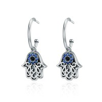 Hot Sale 100% 925 Sterling Silver Lucky Hamsa Hand Round Hoop Earrings For Women Fashion Sterling Silver Jewelry Sce244