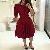 Женское осеннее элегантное платье-туника для вечеринки, женское однотонное офисное платье с молниями и поясом, плиссированное повседневно...
