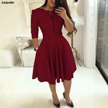 купить Women Fall Half Sleeve Elegant Tunic Party Dress Female O Neck Solid Zipper Belted Pleated Casual Office Wear to Work Dress по цене 826.51 рублей
